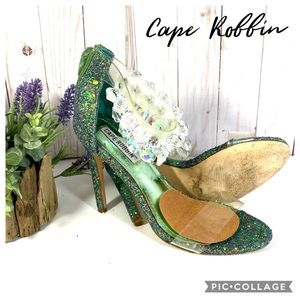 Cape Robbin Suzzy-54 green glitter High Heel 7M